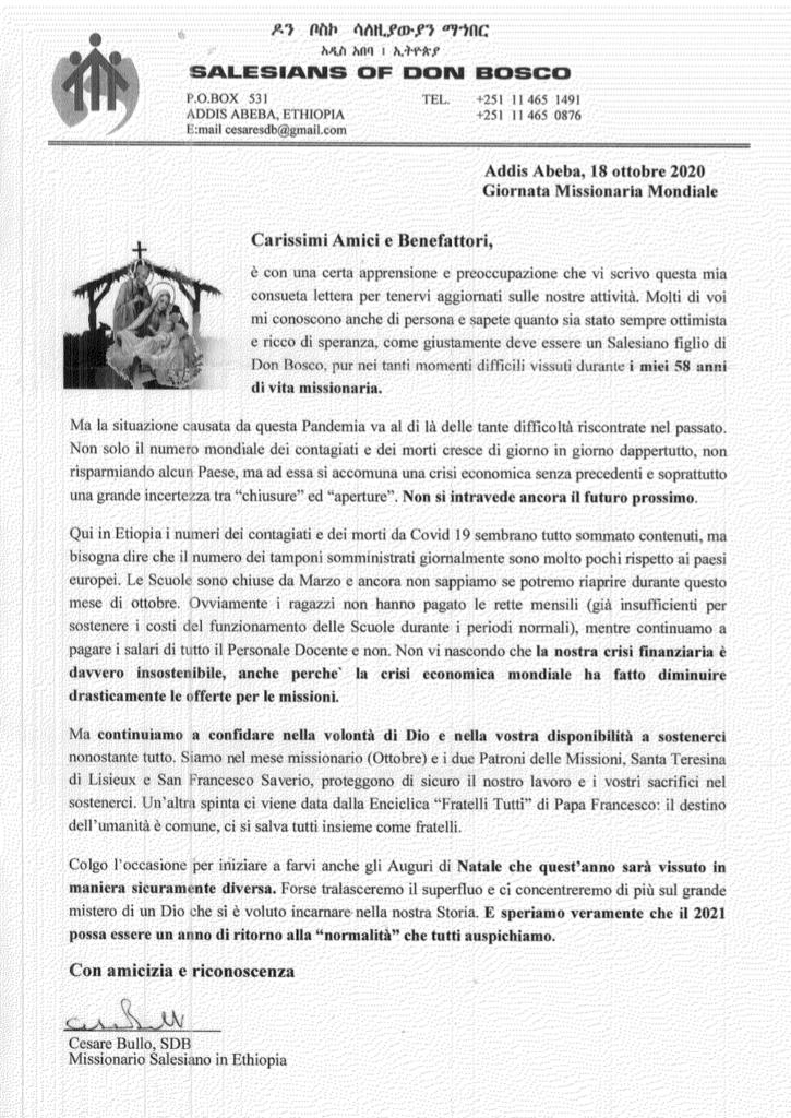 Lettera di Padre Cesare